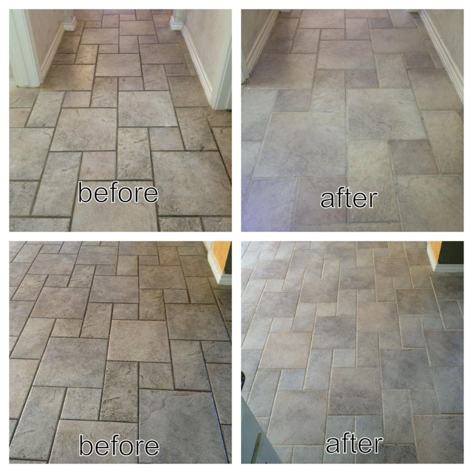 brick-like tiles before and after
